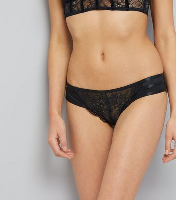 Black Lace Strappy Back Brazilian Briefs