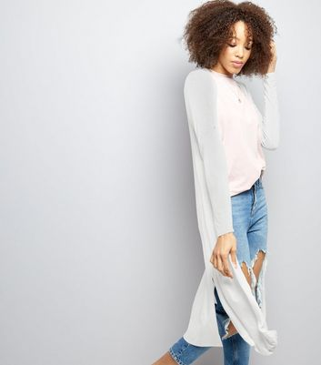 White Split Side Longline Cardigan
