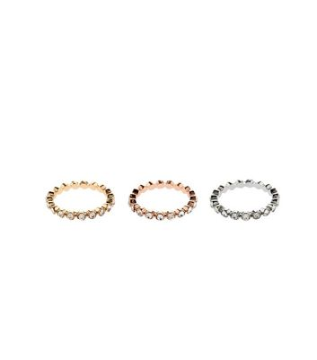 3 Pack Gold And Silver Crystal Rings