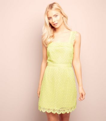 Yellow Scallop Hem Lace Tunic Dress