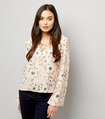 Pink Floral Lace Up Flared Top