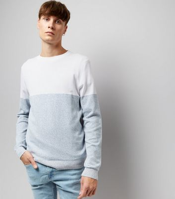 White Colour Block Crew Neck Jumper
