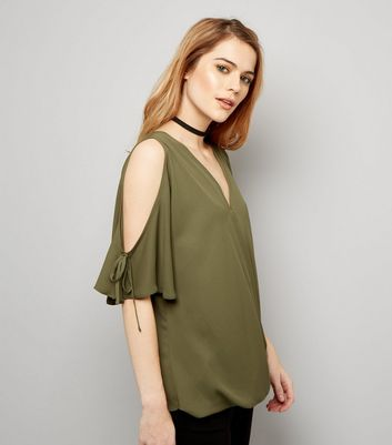Khaki V Neck Wrap Front Cold Shoulder Top