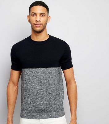 Navy Colour Block Short Sleeve Jumper