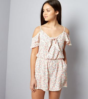 Teens Pink Ditsy Floral Cold Shoulder Playsuit