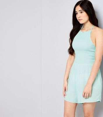 Teens Mint Green Shirred Halter Neck Playsuit