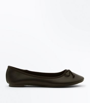 Black Bow Front Ballet Pumps