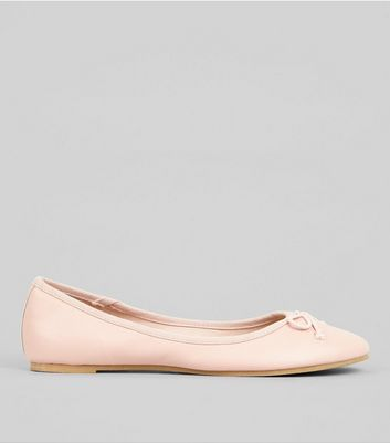 Pink Bow Front Ballet Pumps