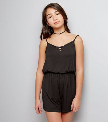 Teens Black Lattice Front Jersey Playsuit