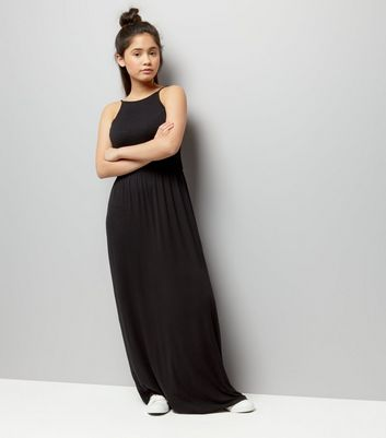 Teens Black Sleeveless Shirred Waist Maxi Dress