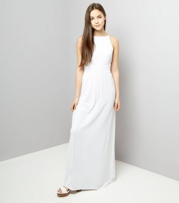 Teens White Sleeveless Shirred Waist Maxi Dress