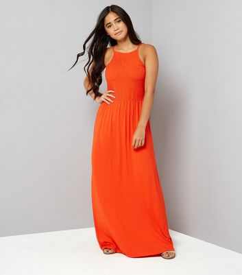 Teens Red Sleeveless Shirred Waist Maxi Dress