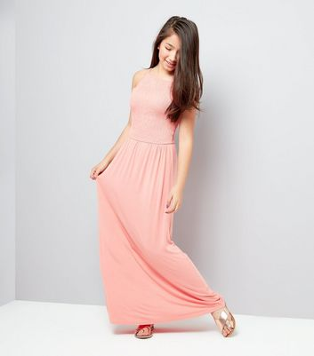 Teens Orange Sleeveless Shirred Waist Maxi Dress