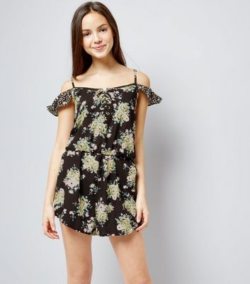 Teens Black Floral Print Lattice Front Playsuit