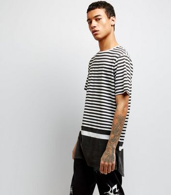 Black Blocked Stripe Longline T-Shirt