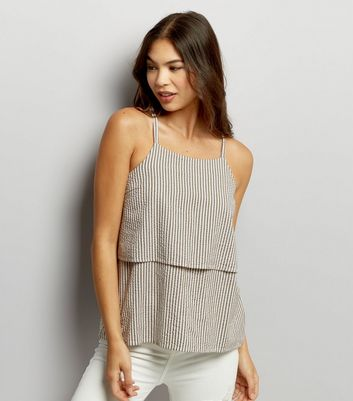Noisy May Blue Stripe Layered Top