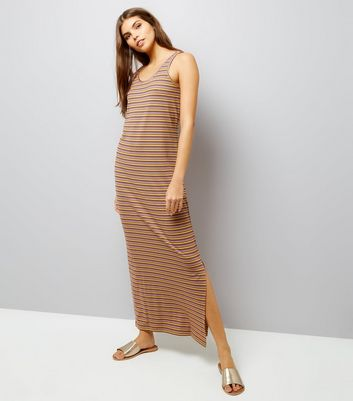 Noisy May Orange Stripe Lattice Back Maxi Dress