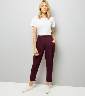Burgundy Tie Waist Trousers