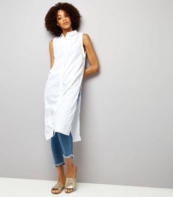 Noisy May White Sleeveless Longline Shirt