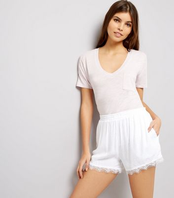 White Textured Lace Trim Shorts