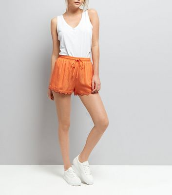 Bright Orange Lace Trim Shorts