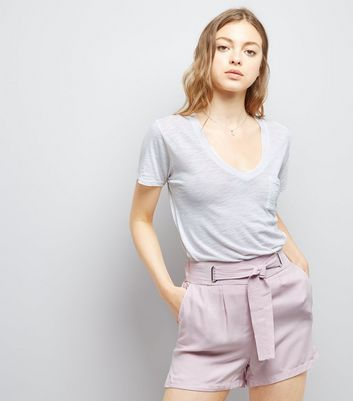 Lilac Tie Waist Shorts