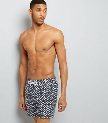 Black Chevron Print Swim Shorts