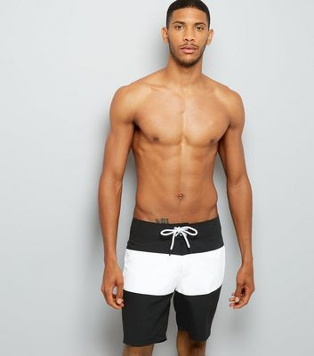 Black Colour Block Board Shorts