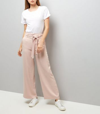 Shell Pink Tie High Waist Wide Leg Trousers