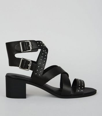 Black Studded Leather Heeled Sandals
