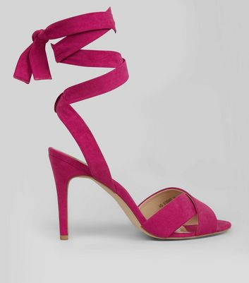 Bright Pink Suedette Tie Up Heeled Sandals