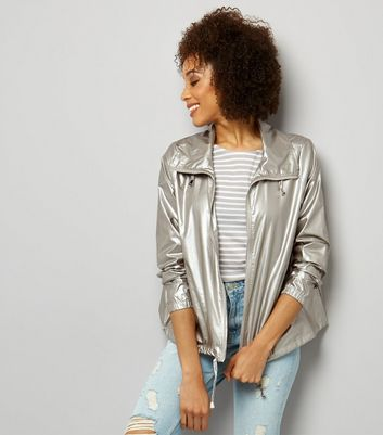 Silver Metallic Fold Away Anorak
