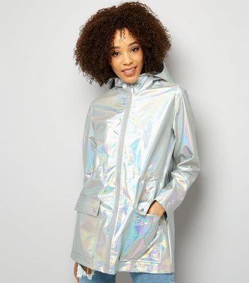 Silver Metallic Hooded Anorak