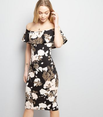 AX Paris Black Floral Print Bardot Neck Bodycon Dress