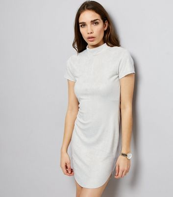 AX Paris Grey Suedette Funnel Neck Dress