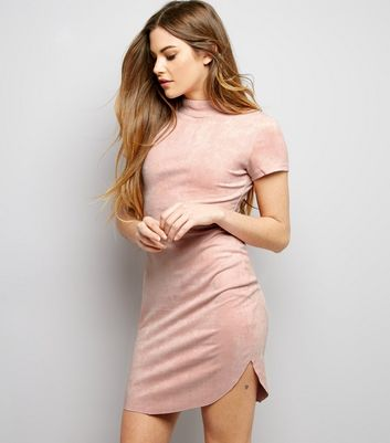 AX Paris Pink Suedette Funnel Neck Dress