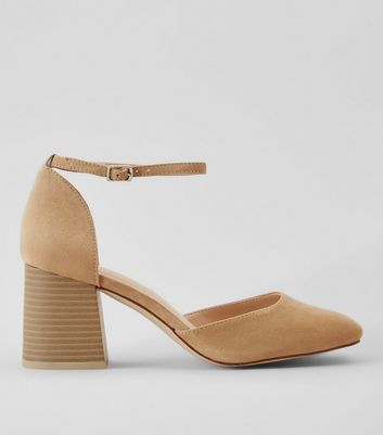 Nude Suedette Ankle Strap Heels