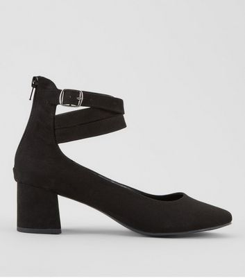 Black Suedette Cross Buckle Strap Mini Block Heels