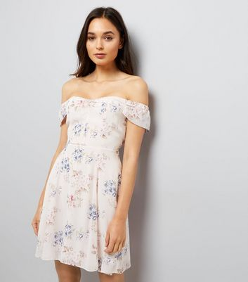 Pink Floral Print Bardot Neck Skater Dress