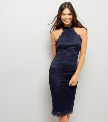 AX Paris Navy Lace High Neck Bodycon Dress