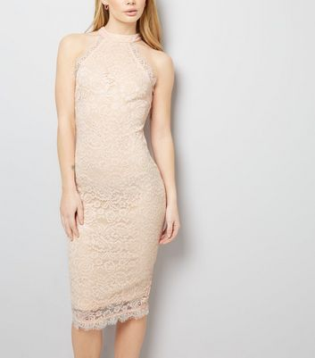 AX Paris Shell Pink Lace High Neck Dress
