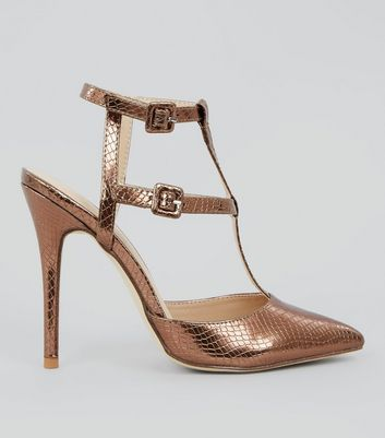 Rose Gold Snakeskin Texture Pointed Gladiator Heels