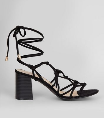 Black Suedette Multi Knot Strap Heeled Sandals