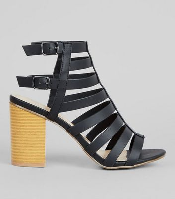 Black Strappy Gladiator Block Heels