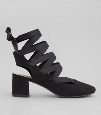 Black Suedette Ankle Tie Mini Block Heels