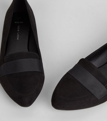 Wide Fit Suedette Pointed Loafers