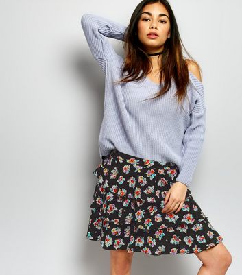 Motel Black Floral Print Layered Skirt
