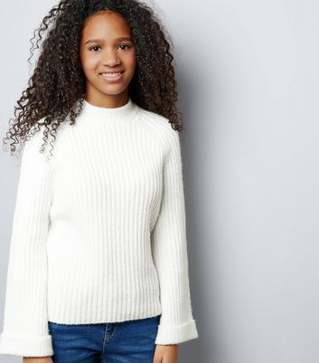 Teens Cream Ribbed Funnel Neck Flared Sleeve Jumper