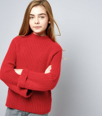 Teens Ribbed Funnel Neck Flare Sleeve Jumper