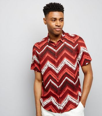 Red Chevron Print Short Sleeve Shirt